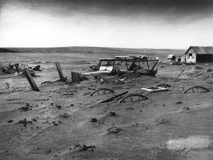 Date: May 13, 1936 Buried machinery in barn lot during the Dust Bowl ...