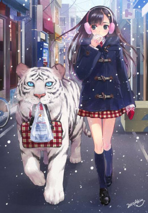 Anime Girl With Tiger - Tigers Fanart