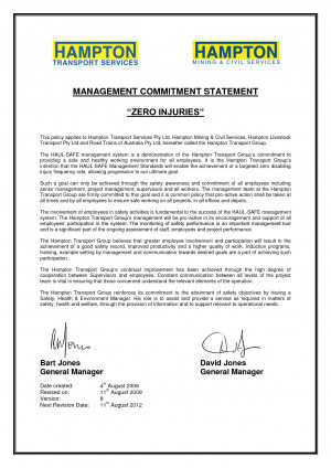 personal commitment statement examples