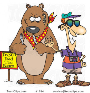 Cartoon Tourist Feeding a Cookie to a Bear for a Photo Op #1784 by Ron ...