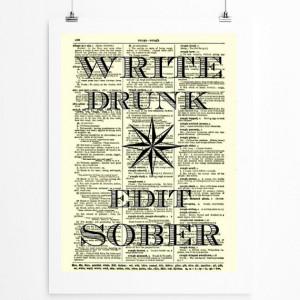 Write Drunk Edit Sober Literary Star Ernest Hemingway Quote on 1897 ...