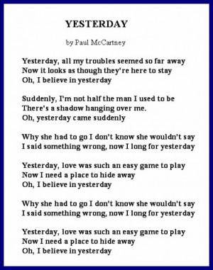 Divorce Song's Lyrics - Yesterday by Paul McCartney