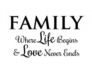 Family, Where Life Begins & Love Never Ends - Wall Quote Decal