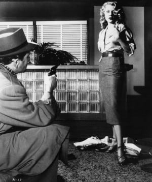 Still of Peggie Castle and Harry Essex in I, the Jury (1953)