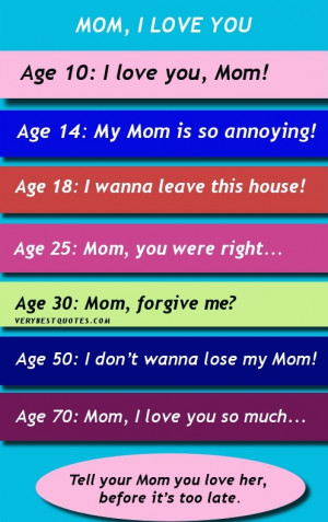 Mom I love you quotes and sayings