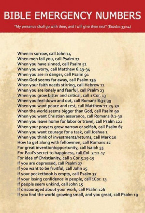 Bible Emergency #'s. BRILLIANT & more effective than 911 and has a ...