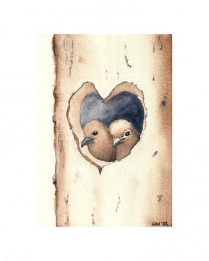 Love Nest -Signed Fine Art Print two birds in a heart shaped nest ...