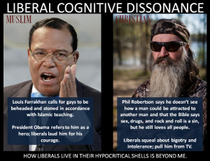 Liberal cognitive dissonance – Louis Farrakhan Vs. Phil Robertson
