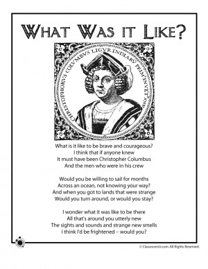 Columbus Day Kids Poems Christopher Columbus Kids Poem - What Was it ...