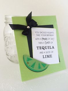 grain of Salt and a SHOT of Tequila Birthday Card. Lime wedge, Alcohol ...
