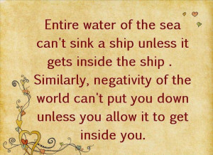 Motivational Quote on negativity and sinking ship