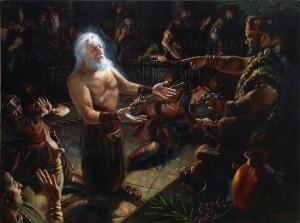 ... Oil Painting of Abinadi testifying before King Noah. LDS artwork