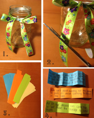 Tie the ribbon in a bow around the mason jar.