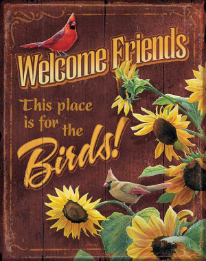 matched up with lighthearted sayings! This tin sign features cardinals ...