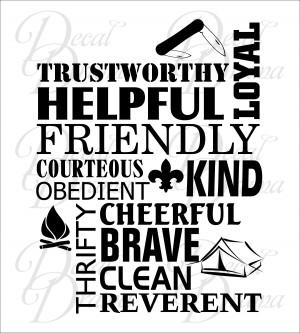 Boy Scout Law Trustworthy Loyal Helpful Friendly Courteous Kind ...