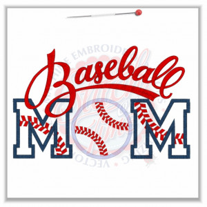 137 Baseball : Baseball Mom Applique 6x10