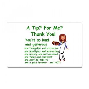 Tip jar sticker saying A tip for me