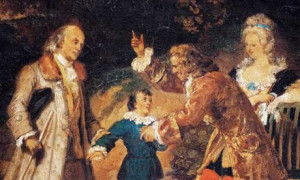 depiction by Achille Devaria of Voltaire greeting Ben Franklin and ...