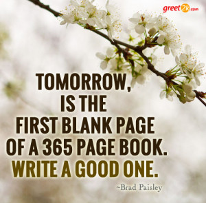 ... , is the first blank page of a 365 page book. Write a good one