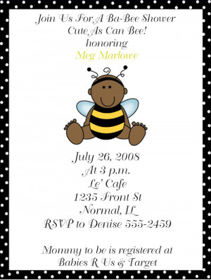 Bumble Bee African American Baby Shower Shower Invitations