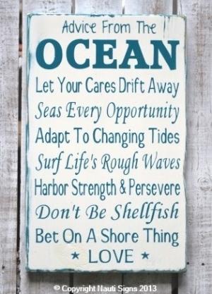Rustic Beach Sign, Ocean Poem, Advice From The Ocean Sign, Beach House ...