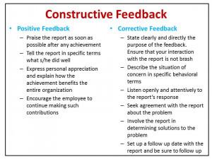 Constructive Feedback Constructive feedback