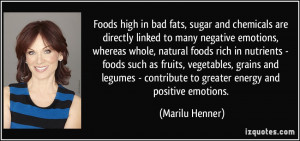 Foods high in bad fats, sugar and chemicals are directly linked to ...