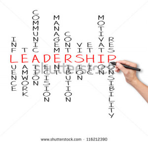 writing leadership skill concept by crossword of influence - teamwork ...