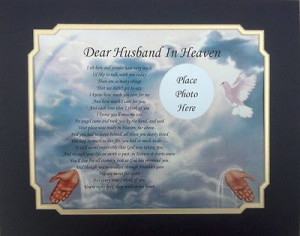 DEAR HUSBAND IN HEAVEN MEMORIAL POEM LOSS OF LOVED ONE For Sale - New ...