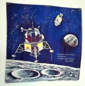 Outer Space Moon Landing John F. Kennedy 1969 Scarf