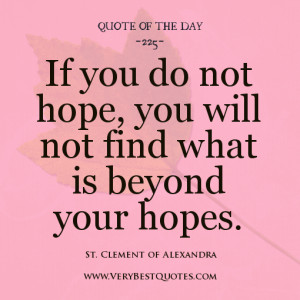 Quote about hope, quote of the day