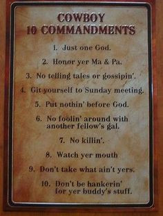 COWBOY TEN 10 COMMANDMENTS Rustic Old West Country Western Sign Home ...