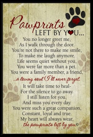 Pawprints Left By You Memorial Plaque With Easel