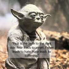 Fear is the path to thedark side. Fear leads to anger. Anger leads to ...