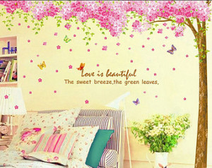 Cherry blossom tree wall decal, Flo wer wall decal, Love quote wall ...