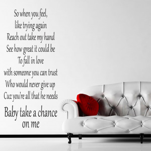 Details about JLS Take A Chance On Me Quote Wall Stickers / Wall ...