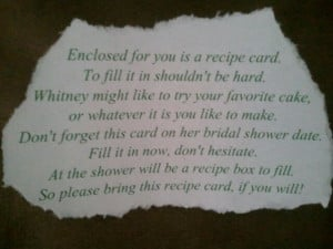the wording for the recipe cards the recipe cards i