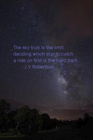inspiration, night, quote, sky, stars