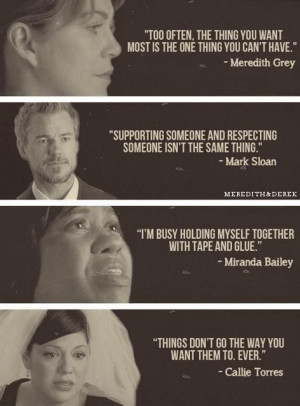 Meredith Grey, Mark Sloan, Miranda Bailey, Callie Torres