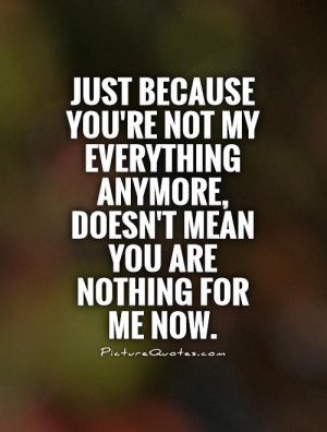 Just because you're not my everything anymore, doesn't mean you are ...