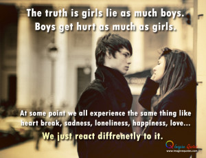 Life quote with girl and boy Cute girl and boy are talking