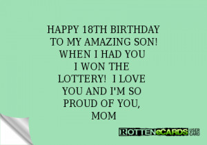 Happy 18th Birthday Son Quotes. QuotesGram