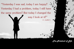 was sad, today I am happy ! Yesterday I had a problem, today ...
