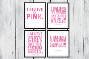 Audrey Hepburn Quotes: I Believe in Pink. 4 prints one low Price