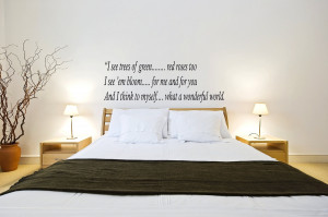 Wall Design : Vinyl What A Wonderful World Luis Amstrong Quote Wall By ...