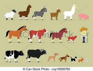 Cute Cartoon Farm Characters including a farmer and 17 animals (Sheep ...