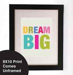 ... Vintage Retro wall art print Quote Dream Big Neon Nursery Shabby Chic