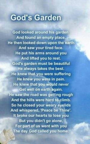 God's garden #grief #loss #lostlovedone