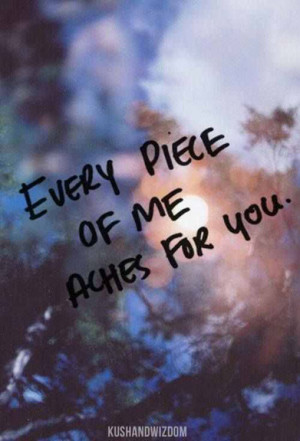 Every piece of me aches for you