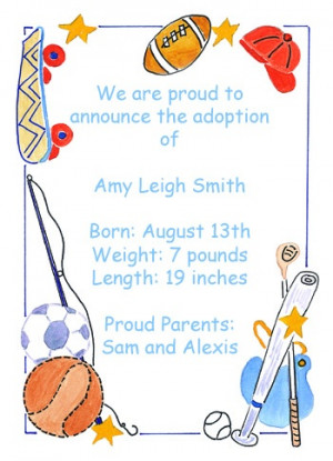 Sports Adoption Announcing Card areBecoming Very Popular!